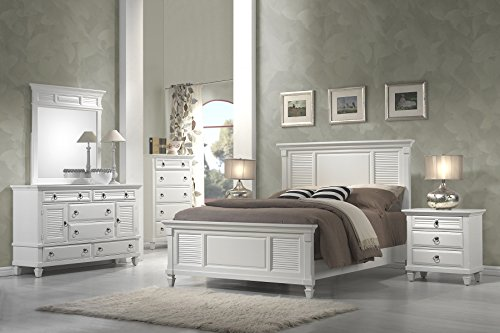 (Alpine Furniture 5 Piece Winchester Shutter Panel Bedroom Set, Queen Size)