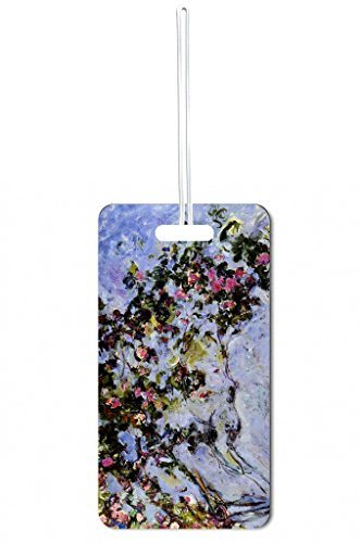 Artist Claude Monet's Rose Bush Painting Print Design Lea Elliot Set of 5 Luggage Tags with Customizable (5 Piece Set Medium Arch)