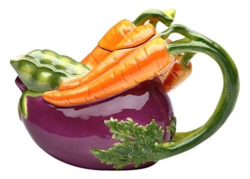 Cg 20804 11 Oz Ceramic Teapot with Purple Eggplant & Carrot Shape