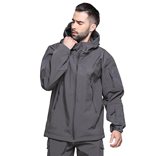 Review TACVASEN Men's Vintage Lightweight Army Military Tactical Softshell Fleece Jacket Gray