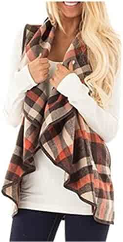 91242cd400 noabat Women s Sleeveless Cardigan Plaid Open Front Vest Outwear with  Pockets