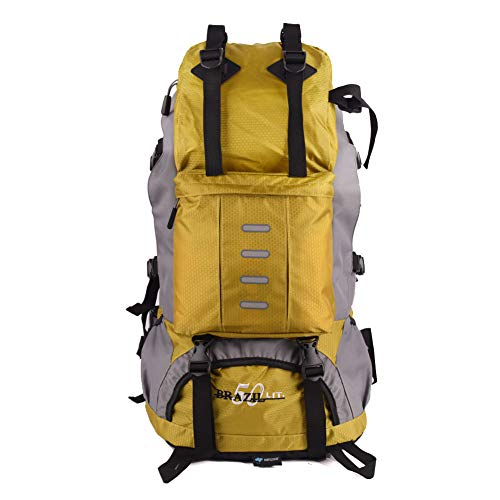 eiAmz Hiking Backpack, Water Resistance, Internal Frame Backpack with Whistle Buckle, Rain Cover, High-Performance Backpack for Hiking, Camping, Trekking, 50L, Nylon, Yellow