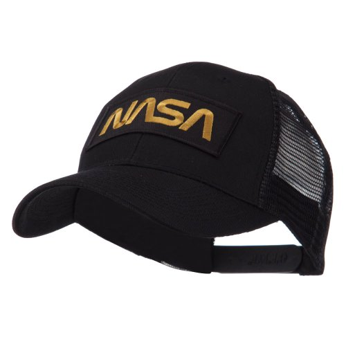 E4hats Hat Metallic - Text Law and Forces Embroidered Patched Mesh Cap - NASA OSFM,Black,One Size