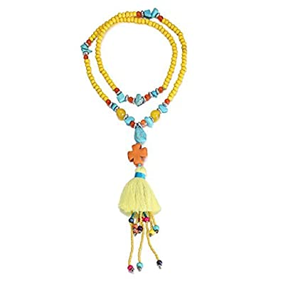eManco Statement Necklaces Tassel Long Pendant Turquoise Beads Decorations Jewellery for Women iIaYOb92gh