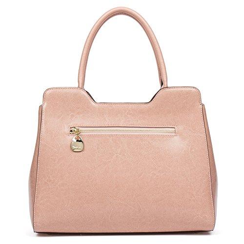 d48e2e4108 Vera Spalla Borsa Pelle Tote Bag Rosa Bowling Sacchetta A Donna Bostanten  handle Manico Top pqd4x0d