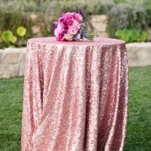 Amazon.com: ShinyBeauty Sequin Tablecloth-Rose Pink-72Inch ...