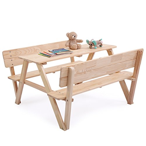 LAZYMOON Wooden Outdoor kids Picnic Table Folding Bench Set with Umbrella