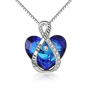 Collier avec pendentif en forme de cœur gravé en argent sterling avec cristaux autrichiens – Cadeau d'anniversaire ou de…