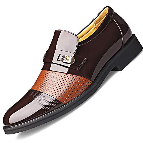 - Pu Leather Men Oxfords Shoes Casual Business Office Formal Shoes Dress Shoes Wedding Party Shoes(Brown 37/4.5 D(M))