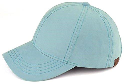 Baseball Silk Cap (H-6BA3-10373 Faux Suede Classic Pain Adjustable Womens Baseball Cap - Denim Silk)