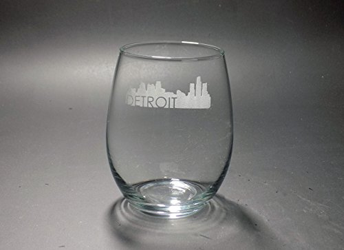 Detroit Skyline Stemless Wine Glass (Skyline Glass Wine)
