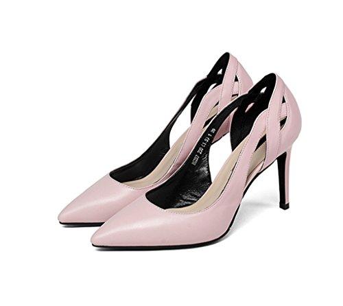 Mode et Mince Hauts Cuir Europe Chaussures Beige Véritable Été Talons Confortable de Femmes Amérique LGLFRXZ et la pour Rose Pointues 34 Printemps Talon Shallow Couleur en Bouche Creux HJHY Taille qgZzwIcO