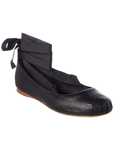 BCBGeneration Womens Talia Leather Closed Toe Ankle Wrap Ballet, Black, Size 7.5