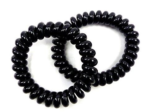 Pelo de goma 2Stk pelo banda 4341Arm banda de pelo joyas Teléfono Cable Negro (tamaño pequeño)