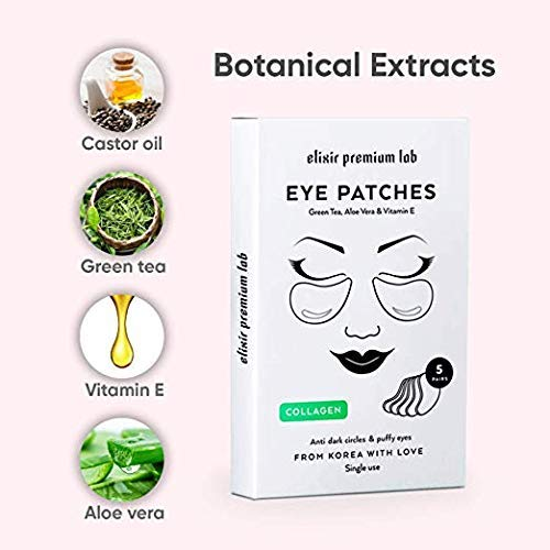 Collagen Eye Patches - Moisturizing Under Eye Pads - Anti Puffines & Dark Circles Spa Treatment - Best Hydrogel Eye Moisturizer for Women & Men - Gel Patch for Dry Skin Under Eye Zone (6 Pack) by Elixir Premium Lab (Image #3)