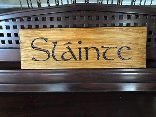 Slainte Irish Cheers Ireland St Patricks Day Sign Plaque Decor ENGRAVED Wood FREE SHIPPING