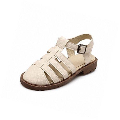 AllhqFashion Puntera Cerrada Hebilla Sólido Mini Tacón Sandalias de vestir Beige