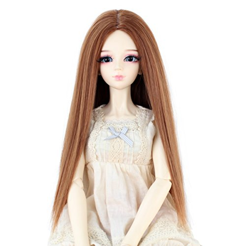Long Straight 9-10 Inch 1/3 BJD MSD DOD Pullip Dollfie Doll Wig Centre Parting Hair Accessories Not for Human (light -