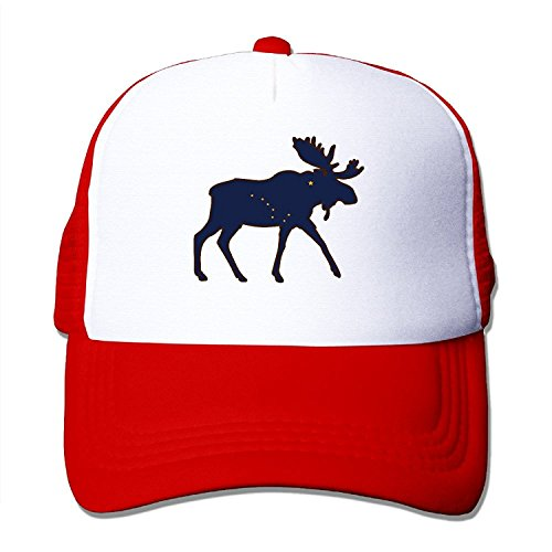 Adjustable Hats Alaska State Animal Moose Flag Trucker Mesh Caps Red