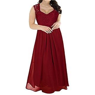 Nemidor Women's Deep- V Neck Sleeveless Vintage Plus Size Bridesmaid Formal Maxi Dress (22W, Wine Red)
