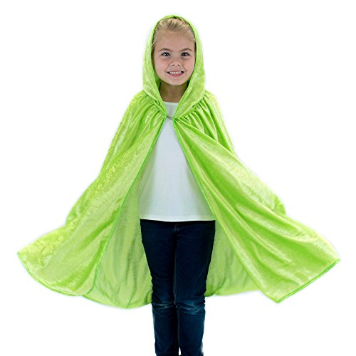 Velour Hooded Dress - Kids Cosplay Hooded Cloak Cape - Lime Green