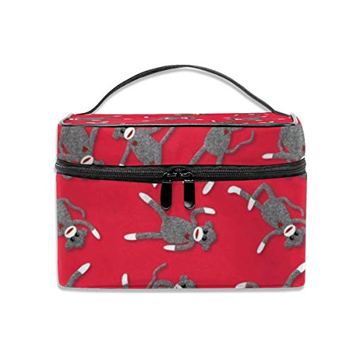 Portable Travel Makeup Cosmetic Bags Sock Monkey Red Party Professional Toiletry Bag Organizer, Accessories Case, Tools Case]()
