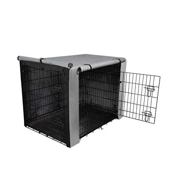 yotache Dog Crate Cover for 42″ Large Double Door Wire Dog Cage, Lightweight 600D Polyester Indoor/Outdoor Durable Waterproof & Windproof Pet Kennel Covers, Gray