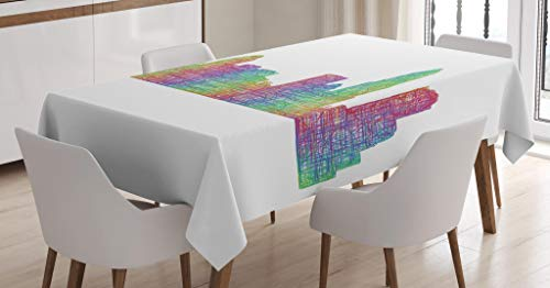 Lunarable North Carolina Tablecloth, Contemporary Style Charlotte City Scene in Colorful Buildings USA Panorama, Dining Room Kitchen Rectangular Table Cover, 52 W X 70 L Inches, Multicolor