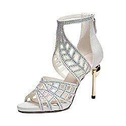 Roman Sandal With Rhinestone & High Heel