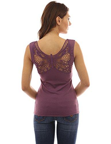 Womens Top Butterfly Tank - PattyBoutik Women's Butterfly Lace Back Tank Top (Dark Purple L)