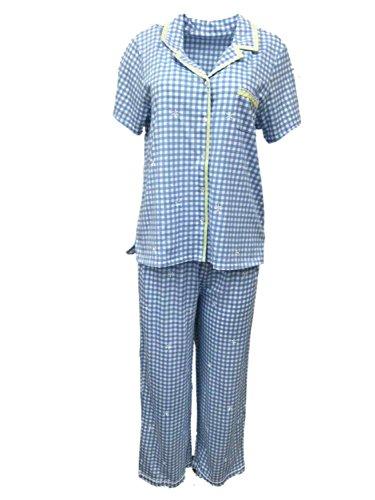 Laura Scott Womens Blue Check Pajamas Lightweight Short Sleeve Pajama Set L (Scott Check)