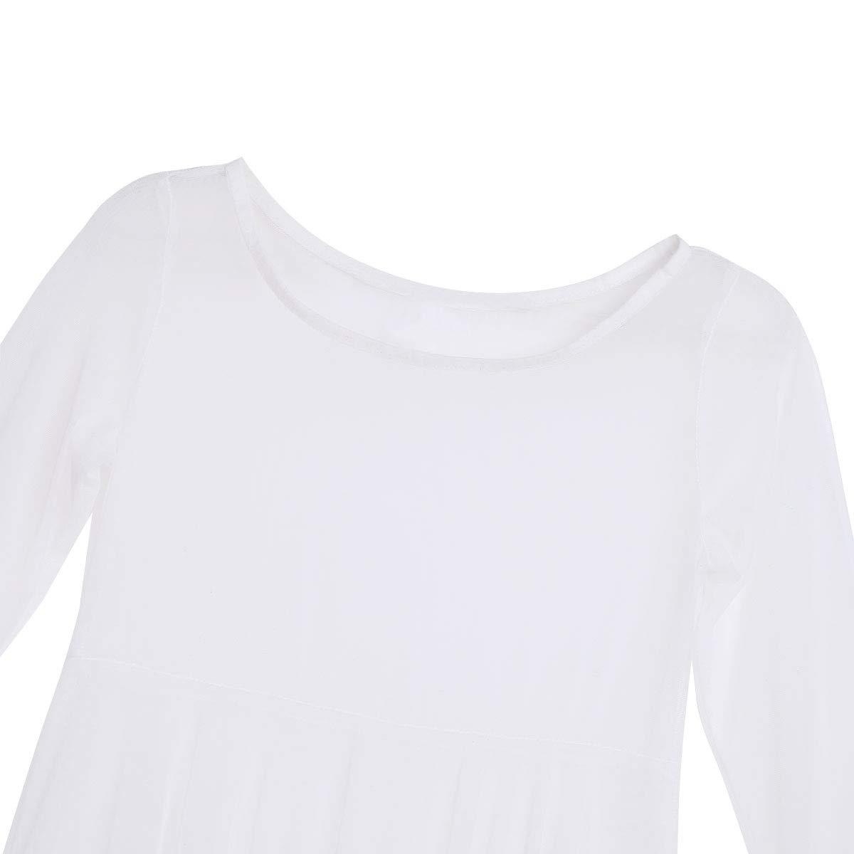 Freebily Girls Floral Sequin Tank Leotard Maxi Overlay Skirt High-Low Hem Irregular Lyrical Dance Dress Praise Costumes 12, White