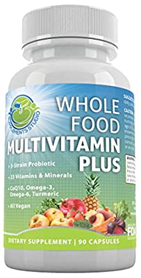 Whole Food Multivitamin Plus - Daily Multivitamin for Men and Women With A, B, C, D, K, Probiotics + Enzymes, CoQ10 + Omegas, Antioxidants, Turmeric - All Natural -Gluten Free - Vegan - Non-GMO