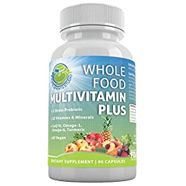 Whole-Food-Multivitamin-Plus-Vegan-Daily-Multivitamin-for-Men-and-Women-With-A-B-C-D-K-Probiotics-Enzymes-CoQ10-Omegas-Antioxidants-Turmeric-All-Natural-90-Capsules-Non-GMO