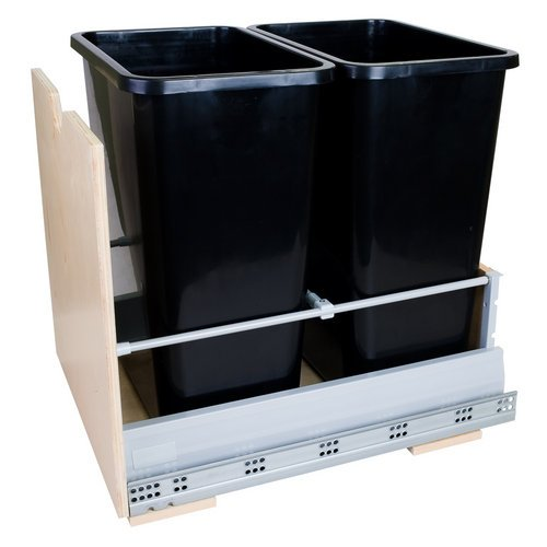 Hardware Resources CAN-MDB Preassembled Double Pullout Waste Container System, Black