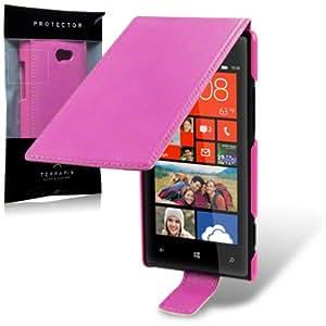 Funda Cuero Piel para HTC Windows Phone 8X Rosa Fucsia