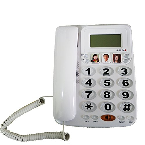 LeeKerTel Large Button Corded Phone with Caller ID Speed Dial Picture Phones for Seniors(White, P029W) (Big Button Picture Phone)