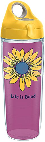 Tervis 1285468 Life is Good - Sunflower Tumbler with Wrap and Yellow Lid 24oz Water Bottle, Clear