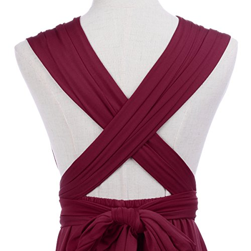 Vestido Sin Rodilla Maxi Infinity de Multi de Fiesta sin Elegante de Respaldo Dama Noche Corto Honor Dresses Boho de Coctel Vestidos Transformer de Cóctel de Mujer Borgoña Mangas Way r6rI1O