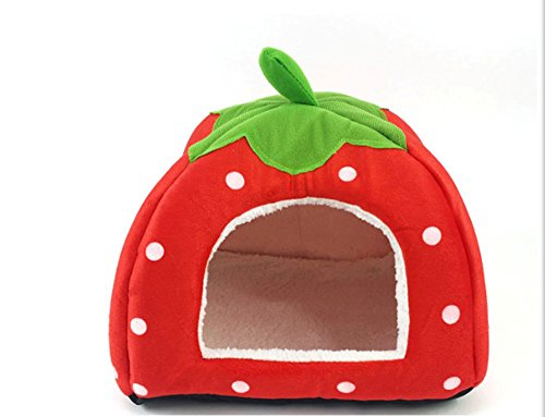 PopStar@ Soft Sponge Strawberry Tent Bed for Pets Dog Cat Pet Bed House w/ Warm Plush Pad (MCCW-MW-RD-L) (Plush House Cat)