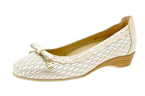 Calzado mujer confort de piel Piesanto 4725 bailarina plantilla extraíble zapato cómodo ancho Beig