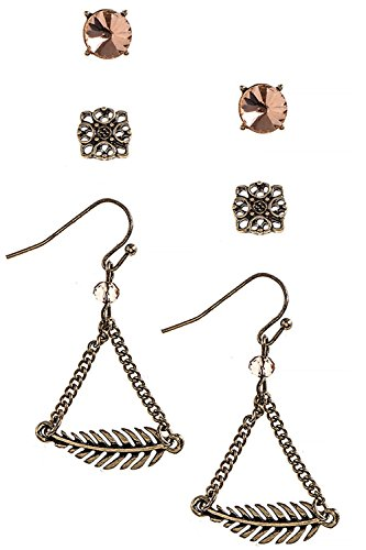 KARMAS CANVAS FEATHER CHARM DROP EARRINGS SET (Clear/Copper) (Coyote Copper Earrings)