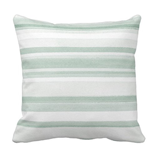 Emvency Throw Pillow Cover Green Mint Sage Watercolor Stripes White Modern Decorative Pillow Case Home Decor Square 18 x 18 Inch Pillowcase