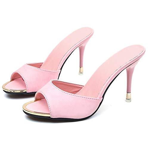 Paul Kevin Womens High Heeled Sandals Slippers Mules Shoes Womens Pumps Pink 8.5 Women