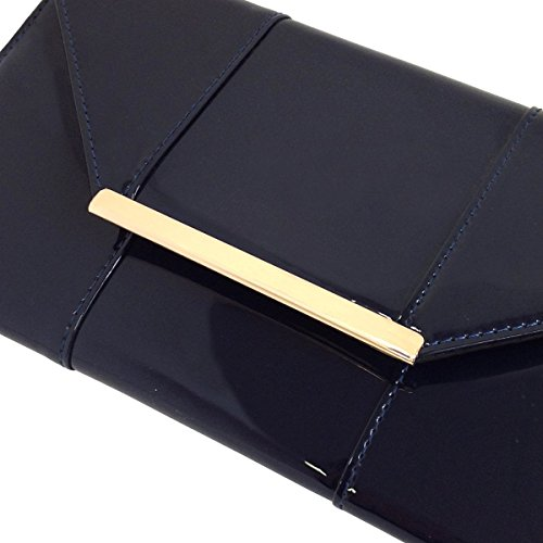 Leather Candy Faux Envelope Navy Patent Clutch tnAnUp5fx