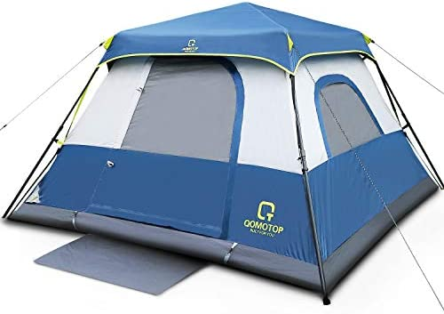 QOMOTOP 4 or 6 People Fast 60 Seconds Easy Set Up Instant Cabin Tent, Camping Tent, Provide Top Rainfly, Waterproof Tent Advanced Venting Design, with Electrical Cord Access Port and Gate Mat