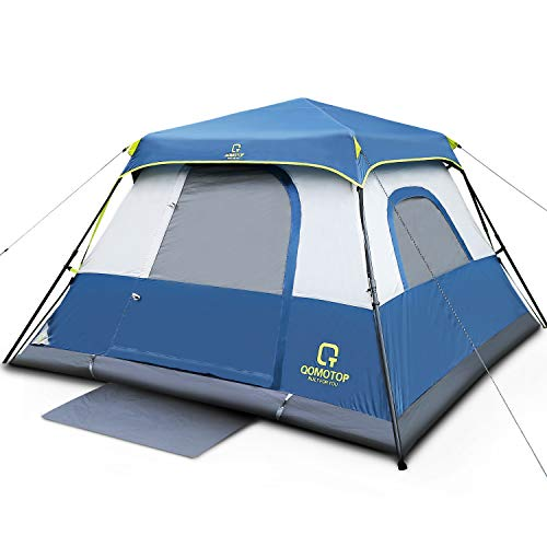 QOMOTOP Cabin Tent, Camping Tent 4 People with Instant Fast 60 Seconds Easy Set Up, Provide Top Rainfly, Waterproof Tent Advanced Venting Design, with Electrical Cord Access Port and Gate - Spring Person Tent