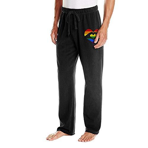 Men's Jogger Sweatpants Love is Love LGBT Rainbow Heart Elastic Waist Pajama Pants by BibiQQgait (Image #2)'