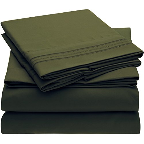Ideal Linens Bed Sheet Set - 1800 Double Brushed Microfiber Bedding - 4 Piece (Queen, Emerald Green)