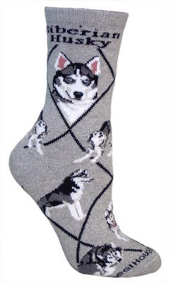 Siberian Husky Adult Cotton Puppy Dog Socks by WHD,Gray,9 - 11